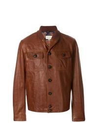 Chaqueta estilo camisa de cuero marrón de Gucci