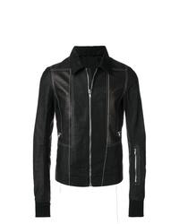 Chaqueta estilo camisa de cuero negra de Rick Owens