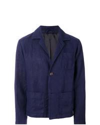 Chaqueta estilo camisa de lino azul marino