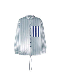Chaqueta estilo camisa de rayas verticales celeste de Sunnei