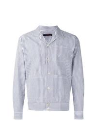 Chaqueta estilo camisa de rayas verticales celeste de The Gigi