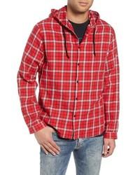 Chaqueta estilo camisa de tartán roja