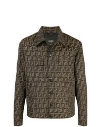 Chaqueta estilo camisa estampada marrón de Fendi