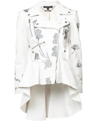 Chaqueta motera blanca de Alexander McQueen