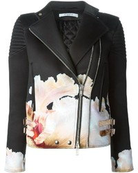 Chaqueta motera con print de flores en negro y blanco de Givenchy
