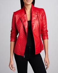 Chaqueta motera de cuero acolchada roja de Neiman Marcus