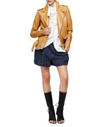 Chaqueta motera de cuero marrón claro de 3.1 Phillip Lim