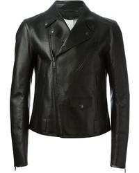 Chaqueta motera de cuero negra de Alexander McQueen