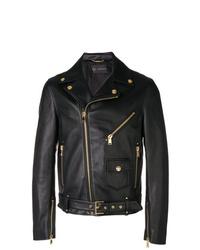 Chaqueta motera de cuero negra de Versace