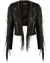 Chaqueta Motera de Cuero Сon Flecos Negra de Balmain