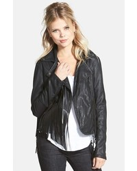 Chaqueta Motera de Cuero Сon Flecos Negra de Blank NYC