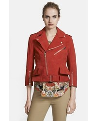 Chaqueta motera de cuero roja de Alexander McQueen