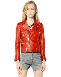 Chaqueta motera de cuero roja de Saint Laurent