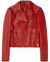 Chaqueta motera de cuero roja de Valentino