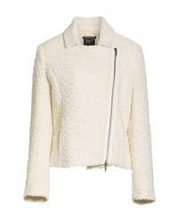 Chaqueta motera de lana blanca