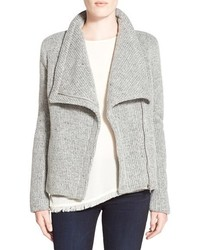 Chaqueta motera de lana gris
