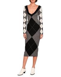 Stella McCartney Long Sleeve Argyle Knit Sweaterdress Gray Pattern