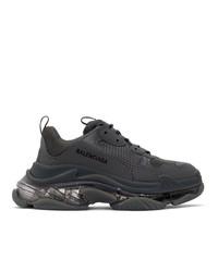 Balenciaga Grey Clear Sole Triple S Sneakers