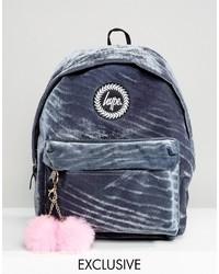 Hype Gray Velvet Backpack With Pink Pom