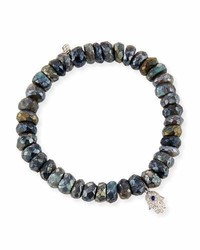 Sydney Evan 8mm Labradorite Beaded Bracelet With Diamond Sapphire Hamsa Charm