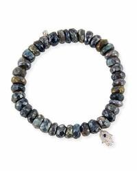 Sydney Evan 8mm Labradorite Beaded Bracelet With Diamond Sapphire Hamsa Charm