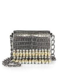 Nancy Gonzalez India Metallic Beaded Crocodile Chain Crossbody Bag