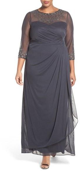 Alex Evenings Plus Size Beaded Illusion Neck A Line Gown, $219 ...