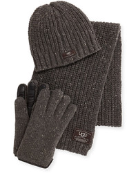 UGG Beanie Scarf And Glove Box Set Gray