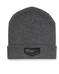 Givenchy Leather Appliqud Wool Blend Beanie