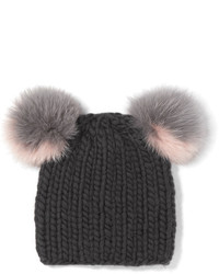 Eugenia Kim Mimi Faux Fur Trimmed Wool Beanie Gray