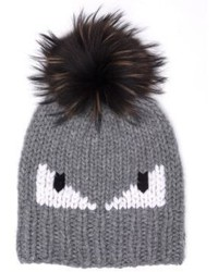 Fendi Monster Fur Pom Wool Hat