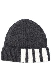 Thom Browne Rib Hat With 4 Bar Stripe In Dark Grey Cashmere