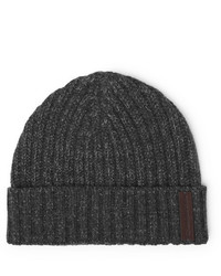 Ermenegildo Zegna Ribbed Mlange Cashmere And Wool Blend Beanie