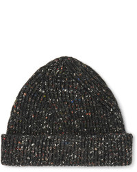 Maison Margiela Ribbed Mlange Wool Alpaca And Silk Blend Beanie