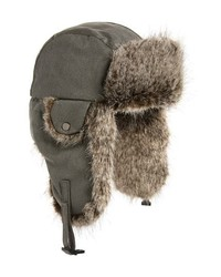 Crown Cap Waxed Cotton Aviator Hat With Faux