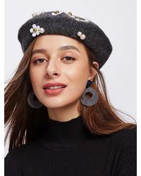 Romwe Flower Faux Pearl Beret Cap