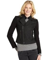 Tahari Grey And Black M Wool Blend Moto Jacket