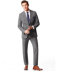 Banana Republic Tailored Fit Textured Grey Wool Suit Jacket