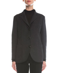 Giorgio Armani Felted Silk Boyfriend Three Button Jacket