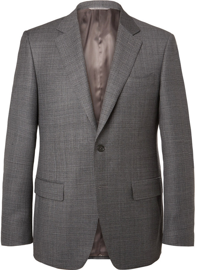 ... Canali Grey Venezia Slim Fit Super 130s Wool Sharkskin Suit Jacket ...
