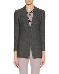One button notched lapel fine boucle jacket medium 6988651