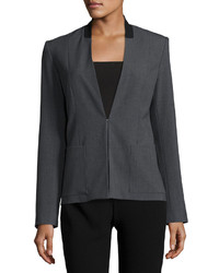 T Tahari Farley Collarless Blazer Jacket Charcoal Heather