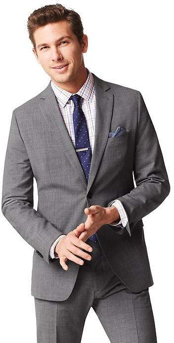Banana Republic Tailored Fit Textured Grey Wool Suit Jacket ...