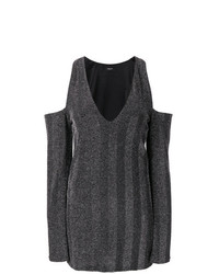 Amiri Cold Shoulder Herringbone Mini Dress