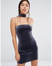 Velvet choker detail bodycon dress medium 748379