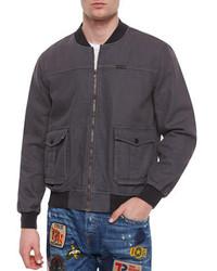 True Religion Faded Bomber Jacket Gray