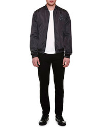 Dolce & Gabbana Lightweight Bomber Jacket With Crown Dark Gray