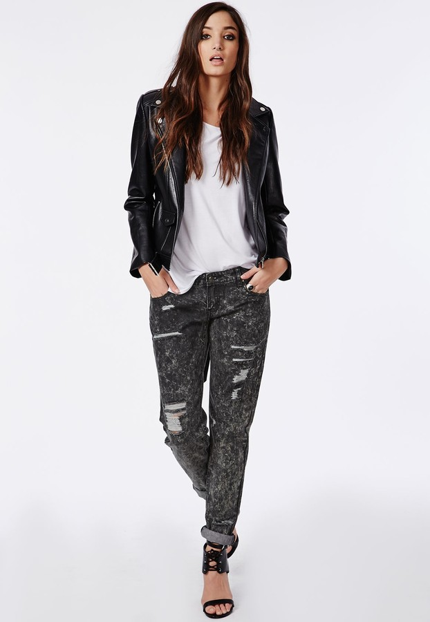 Missguided Dylan Boyfriend Jeans In Black Acid Wash | Where to buy ...