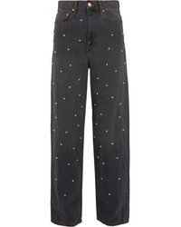 Etoile Isabel Marant Isabel Marant Toile Curt Faux Pearl Embellished Low Rise Boyfriend Jeans Gray