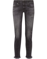 R 13 R13 Boy Skinny Frayed Mid Rise Slim Boyfriend Jeans Charcoal